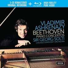 Ludwig van Beethoven (1770-1827): Klavierkonzerte Nr.1-5 (mit Blu-ray Audio), 3 CDs und 1 Blu-ray Audio