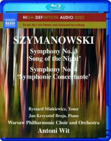 Karol Szymanowski (1882-1937): Symphonien Nr.3 & 4, Blu-ray Audio