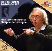 Ludwig van Beethoven (1770-1827): Symphonien Nr.5 & 8, Super Audio CD