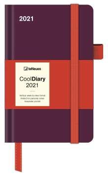 Bordeaux/Coral 2021 - Diary - Buchkalender - Taschenkalender - 9x14, Kalender