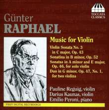 Günter Raphael (1903-1960): Sonaten für Violine solo op.46 Nr.1 & 2, CD