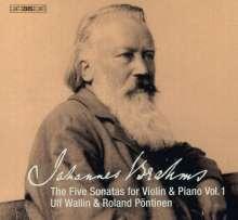 Johannes Brahms (1833-1897): Die 5 Sonaten für Violine & Klavier Vol.1, Super Audio CD