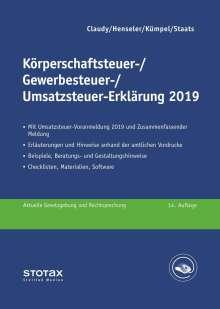 Björn Claudy: Körperschaftsteuer-, Gewerbesteuer-, Umsatzsteuer-Erklärung 2019, Buch
