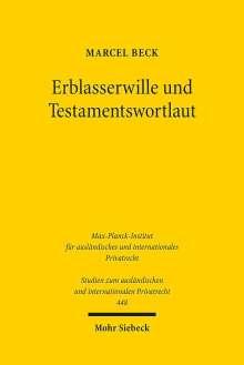 Marcel Beck: Erblasserwille und Testamentswortlaut, Buch