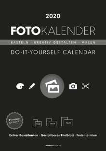 Foto-Bastelkalender 2020 schwarz datiert, Diverse