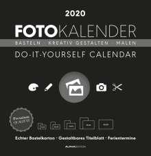 Foto-Bastelkalender 2020 groß datiert, schwarz, Diverse