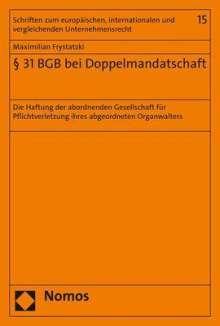 Maximilian Frystatzki: § 31 BGB bei Doppelmandatschaft, Buch