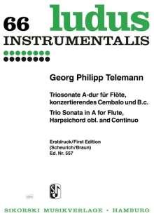 Georg Philipp Telemann: Triosonate für Flöte, konzertierendes Cembalo und B.c. A-Dur TWV42:A6, Noten
