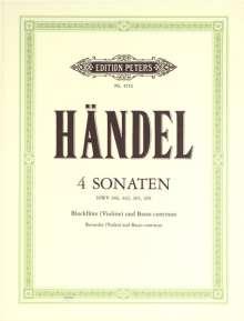 Georg Friedrich Händel: 4 Sonaten für Blockflöte (Violine) und Basso continuo HWV 360/362/365/369, Noten