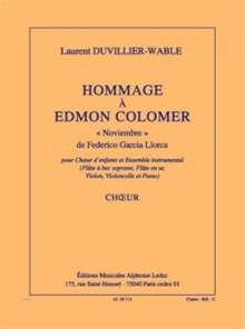 Laurent Duvillier-Wable: Hommage A Edmon Colomer, Noten